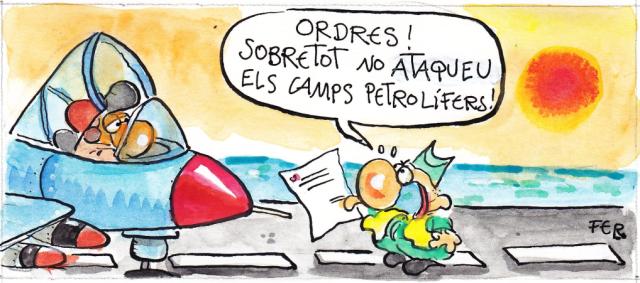 Comença l'atac de la coalició internacional contra Gaddafi. (Líbia) Acudit del dibuixant Fer