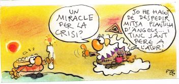 Ni Déu se salva de la crisi. Acudit del dibuixant Fer.